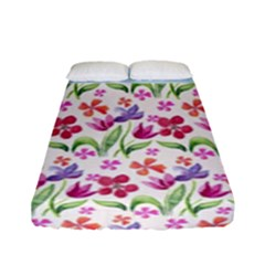 Watercolor flowers and butterflies pattern Fitted Sheet (Full/ Double Size)