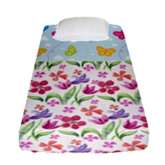 Watercolor flowers and butterflies pattern Fitted Sheet (Single Size)