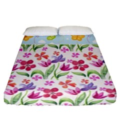 Watercolor flowers and butterflies pattern Fitted Sheet (Queen Size)