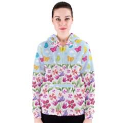 Watercolor flowers and butterflies pattern Women s Zipper Hoodie