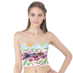 Watercolor flowers and butterflies pattern Tube Top