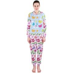 Watercolor flowers and butterflies pattern Hooded Jumpsuit (Ladies)
