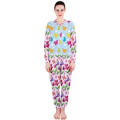 Watercolor flowers and butterflies pattern OnePiece Jumpsuit (Ladies)