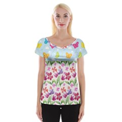 Watercolor flowers and butterflies pattern Women s Cap Sleeve Top
