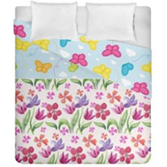 Watercolor flowers and butterflies pattern Duvet Cover Double Side (California King Size)
