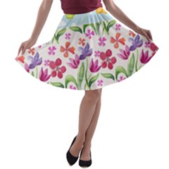 Watercolor flowers and butterflies pattern A-line Skater Skirt