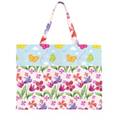 Watercolor flowers and butterflies pattern Large Tote Bag