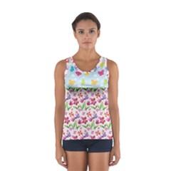 Watercolor flowers and butterflies pattern Women s Sport Tank Top