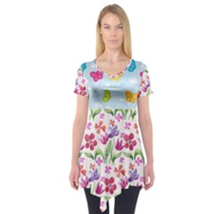 Watercolor flowers and butterflies pattern Short Sleeve Tunic