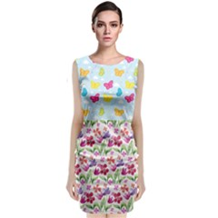Watercolor Flowers And Butterflies Pattern Classic Sleeveless Midi Dress
