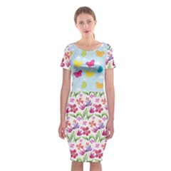Watercolor flowers and butterflies pattern Classic Short Sleeve Midi Dress