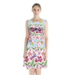 Watercolor Flowers And Butterflies Pattern Sleeveless Chiffon Waist Tie Dress