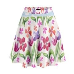 Watercolor Flowers And Butterflies Pattern High Waist Skirt