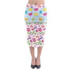 Watercolor Flowers And Butterflies Pattern Midi Pencil Skirt
