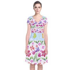 Watercolor Flowers And Butterflies Pattern Short Sleeve Front Wrap Dress