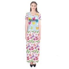 Watercolor Flowers And Butterflies Pattern Short Sleeve Maxi Dress