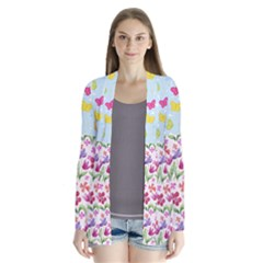 Watercolor Flowers And Butterflies Pattern Cardigans
