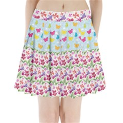 Watercolor Flowers And Butterflies Pattern Pleated Mini Skirt