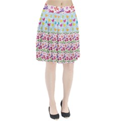 Watercolor flowers and butterflies pattern Pleated Skirt