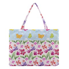 Watercolor Flowers And Butterflies Pattern Medium Tote Bag