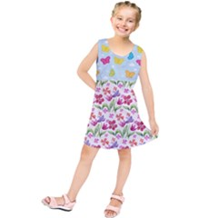 Watercolor Flowers And Butterflies Pattern Kids  Tunic Dress
