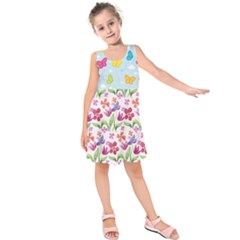 Watercolor Flowers And Butterflies Pattern Kids  Sleeveless Dress