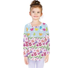Watercolor Flowers And Butterflies Pattern Kids  Long Sleeve Tee