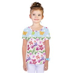 Watercolor Flowers And Butterflies Pattern Kids  One Piece Tee