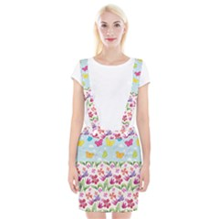 Watercolor Flowers And Butterflies Pattern Suspender Skirt