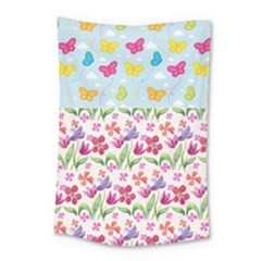 Watercolor Flowers And Butterflies Pattern Small Tapestry