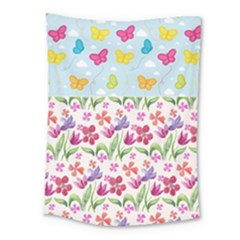 Watercolor Flowers And Butterflies Pattern Medium Tapestry