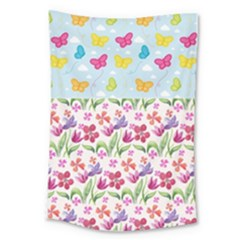 Watercolor Flowers And Butterflies Pattern Large Tapestry