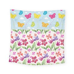 Watercolor Flowers And Butterflies Pattern Square Tapestry (small)