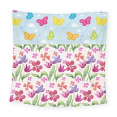 Watercolor Flowers And Butterflies Pattern Square Tapestry (large)