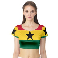 Flag of Ghana Short Sleeve Crop Top (Tight Fit)