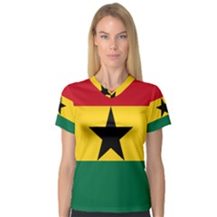 Flag of Ghana Women s V-Neck Sport Mesh Tee