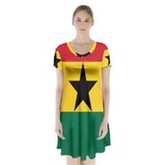 Flag of Ghana Short Sleeve V-neck Flare Dress