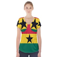 Flag of Ghana Short Sleeve Front Detail Top