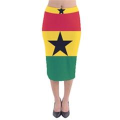 Flag of Ghana Velvet Midi Pencil Skirt