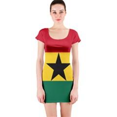 Flag of Ghana Short Sleeve Bodycon Dress