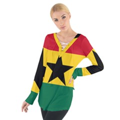 Flag of Ghana Women s Tie Up Tee