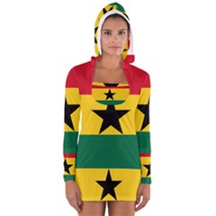 Flag of Ghana Women s Long Sleeve Hooded T-shirt