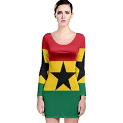 Flag of Ghana Long Sleeve Velvet Bodycon Dress