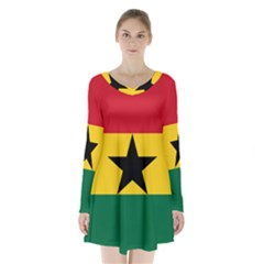 Flag of Ghana Long Sleeve Velvet V-neck Dress