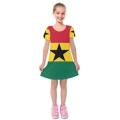 Flag of Ghana Kids  Short Sleeve Velvet Dress