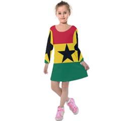 Flag of Ghana Kids  Long Sleeve Velvet Dress