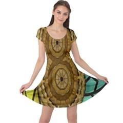 Kaleidoscope Dream Illusion Cap Sleeve Dresses