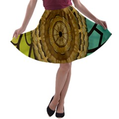 Kaleidoscope Dream Illusion A Line Skater Skirt