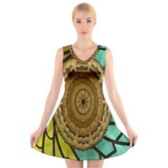 Kaleidoscope Dream Illusion V-Neck Sleeveless Skater Dress