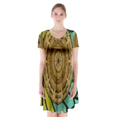Kaleidoscope Dream Illusion Short Sleeve V Neck Flare Dress
